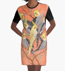 Cockatiel Fun Graphic T-Shirt Dress