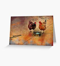 fowl language around the dog's bowl Greeting Card