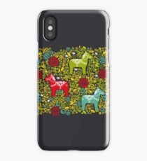 Dalecarlian Dala horse traditional carved painted wooden horse statuette originating in Swedish province Dalarna. iPhone Case/Skin