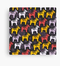 pattern Red orange lilac Dalecarlian Dala horse traditional painted wooden horse statuette originating in Swedish province Dalarna. flowers on black background. Canvas Print