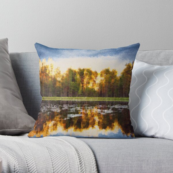 Lakeside by M.A Throw Pillow
