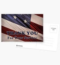 USA Military Veterans Patriotic Flag Thank You Postcards
