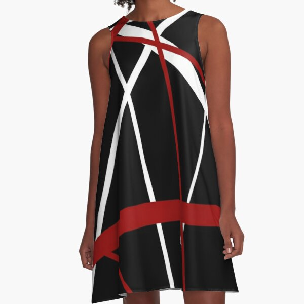 Red and White Stripes on A Black Background A-Line Dress