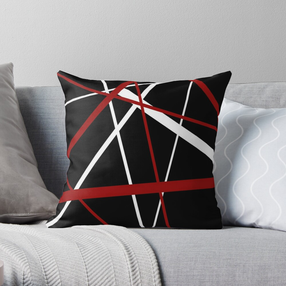 Red and White Stripes on A Black Background Throw Pillow