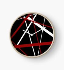 Red and White Stripes on A Black Background Clock