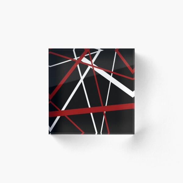 Red and White Stripes on A Black Background Acrylic Block