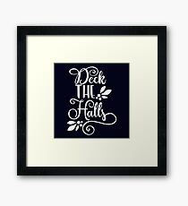 Navy and white Deck the Halls Typography Framed Print