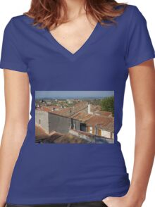 Arles Rooftops Women's Fitted V-Neck T-Shirt