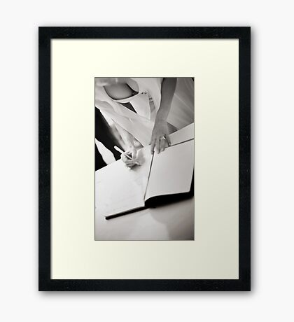Sexy busty sensual bride signs marriage register black and white wedding photograph mariage ceremony Framed Print