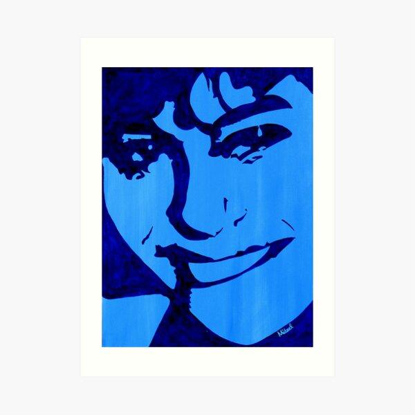 """Blue Girl"" original signed acrylic painting on canvas Art Print"