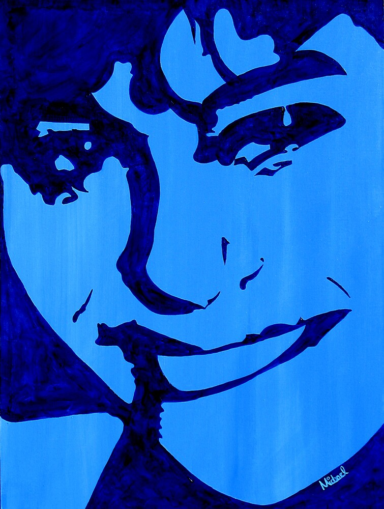 """""""Blue Girl"""" original signed acrylic painting on canvas by Michael Arnold"""