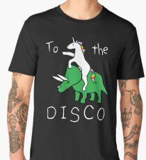 To The Disco (white text) Unicorn Riding Triceratops Men's Premium T-Shirt