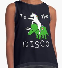 To The Disco (white text) Unicorn Riding Triceratops Contrast Tank