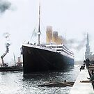 Titanic prepares to leave port, 1912 by Marina Amaral