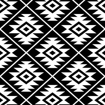 Aztec Symbol Pattern White on Black by NataliePaskell