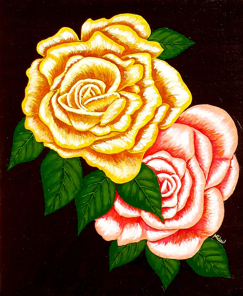 """""""Two Roses"""" original signed acrylic painting on canvas by Michael Arnold"""