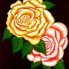 """Two Roses"" original signed acrylic painting on canvas by Michael Arnold"