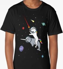 Unicorn Riding Narwhal In Space Long T-Shirt
