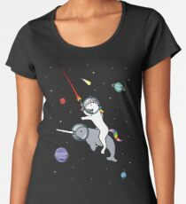 Unicorn Riding Narwhal In Space Women's Premium T-Shirt