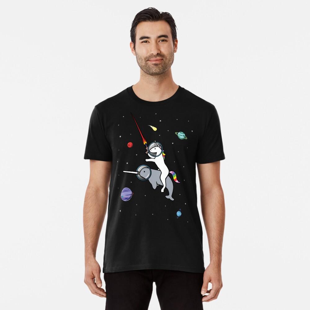 Unicorn Reiten Narwhal im Raum Premium T-Shirt