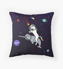Unicorn Riding Narwhal In Space Throw Pillow