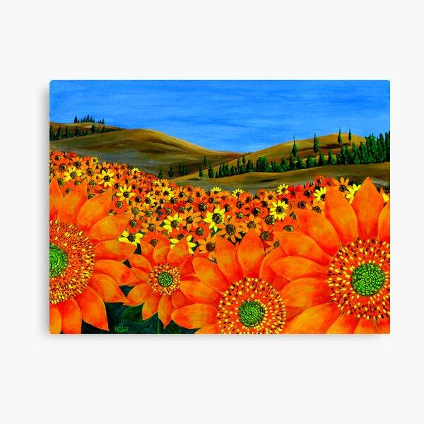 """Sunflower Field"" Original Floral Nature Painting Canvas Print"