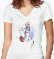 CELLULAR DIVISION by elena garnu Women's Fitted V-Neck T-Shirt