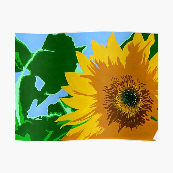 """""""Sunflower"""" Pop Art Style Nature Painting Poster"""