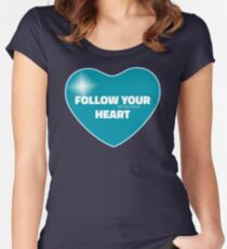 Follow Your Heart (Blue) Women's Fitted Scoop T-Shirt