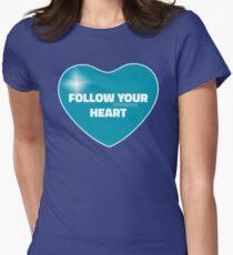 Follow Your Heart (Blue) Women's Fitted T-Shirt