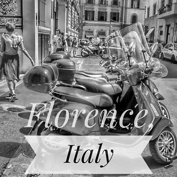 Florence Italy scooters in black and white  by cutehuur