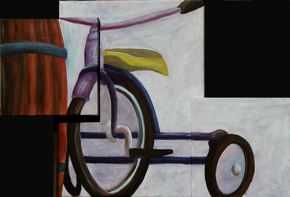 """""""Trike & Barrel"""" original trypytch artwork by Michael Arnold"""