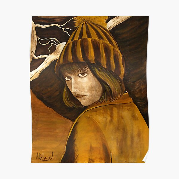 """""""Girl in Brown and Gold"""" original signed acrylic painting on canvas Poster"""