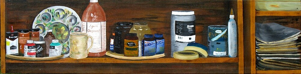"""""""Art Shelf"""" original signed acrylic painting on canvas by Michael Arnold"""