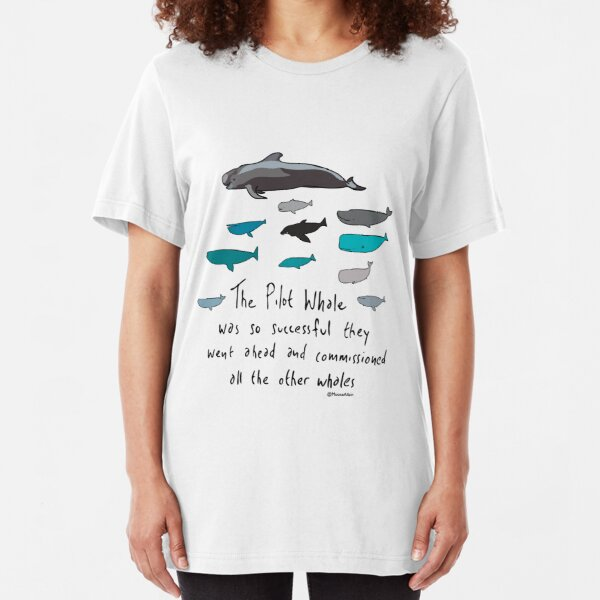 Pilot Whales Cartoon Slim Fit T-Shirt