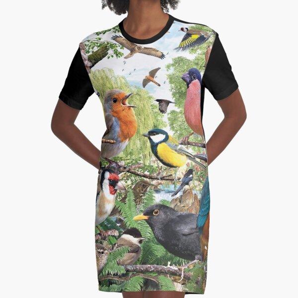 British Birds Graphic T-Shirt Dress