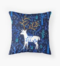 Deericorn In Blue Throw Pillow