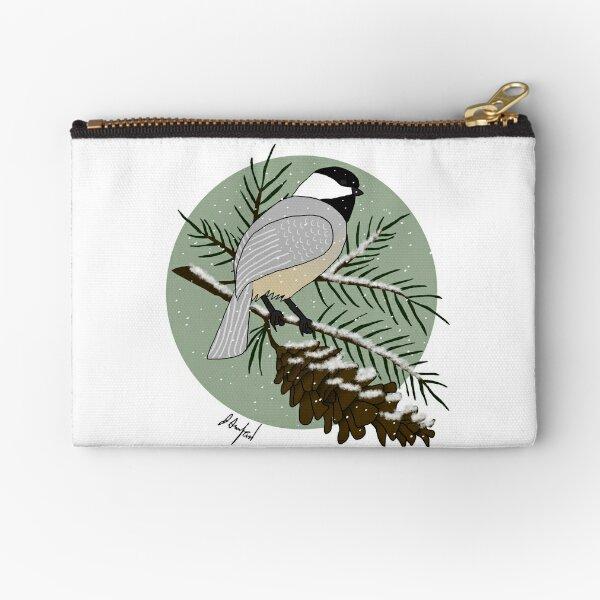 Maine Chickadee and White Pine Zipper Pouch