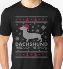 Dachshund Through The Snow Christmas T-shirt Unisex T-Shirt