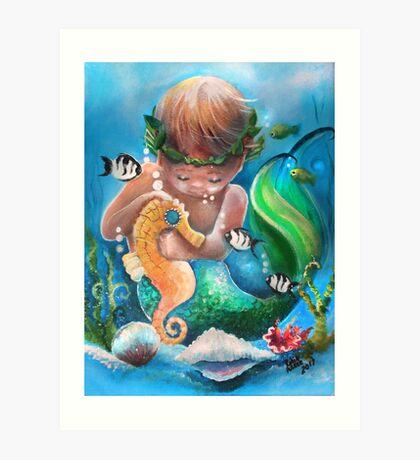 Boy's Best Friend in the Sea Art Print