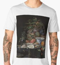 Still Life with Fruit, Oysters, and a Porcelain Bowl, Abraham Mignon, 1660 - 1679 Men's Premium T-Shirt
