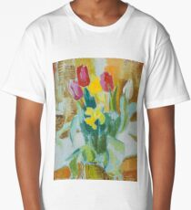 Still life with tulips and lilies, Isaac Grunewald, (1889-1946) impressionist Long T-Shirt