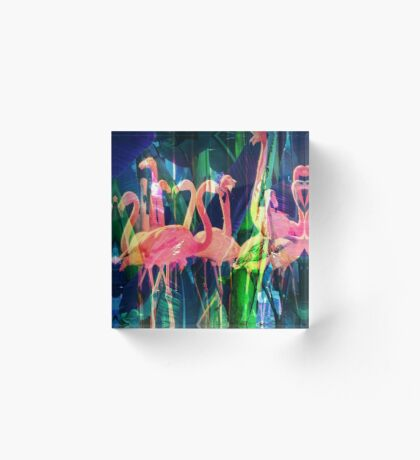 Flamingo Dance Acrylic Block