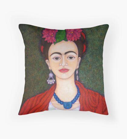 Frida Kahlo portrait with dalias  Throw Pillow