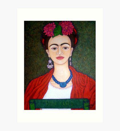 Frida portrait with dalias  Art Print