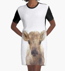 Little Reindeer Graphic T-Shirt Dress