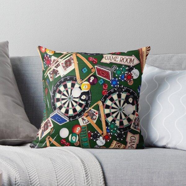 Game Room Billiards Darts & Cards Throw Pillow