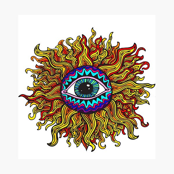 Psychedelic Sunflower - Just the flower Photographic Print