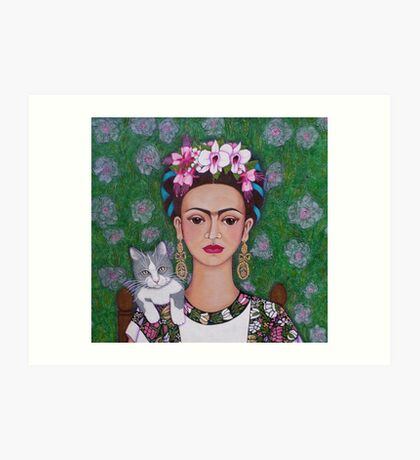 Frida cat lover - closer Art Print
