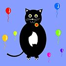 Black cat with flower in his mouth and colorful balloons by Silvia Ganora